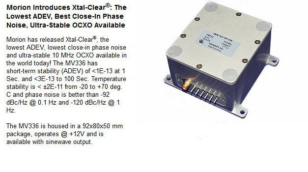 Morion Inroduces Xtal-Clear OCXO